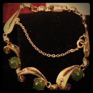 Jewelry - Vintage Gold and Jade bracelet by Sorrento